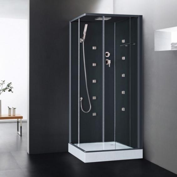 Cabine de douche int grale hydromassante irina noire en verre avec r flex sal - Cabine de douche noir ...