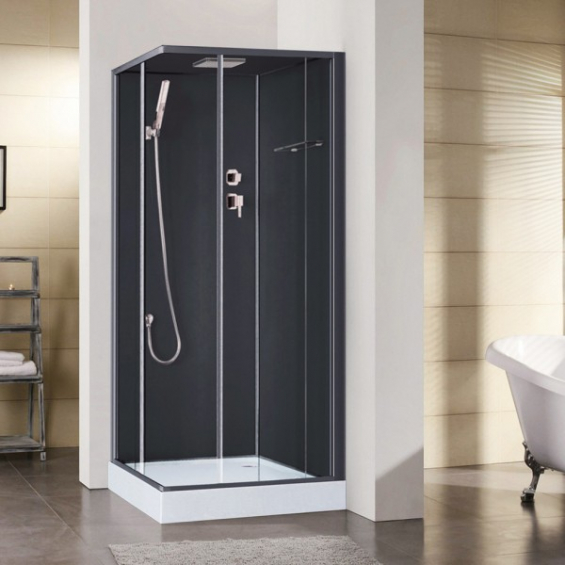 cabine de douche int grale irina noire en verre avec r flex salle de bain. Black Bedroom Furniture Sets. Home Design Ideas