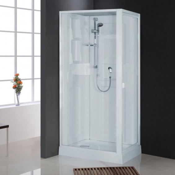 cabine de douche int grale nahuel blanche en verre avec r flex salle de bain. Black Bedroom Furniture Sets. Home Design Ideas